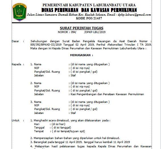 Contoh Surat Perintah Tugas Spt Perjalanan Dinas