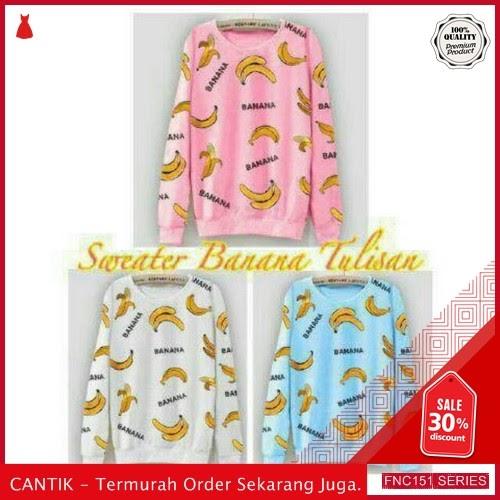 FNC151S41 Sweater Banana Tulisan Babyterri Wanita BMGShop L Serba 50 Ribuan