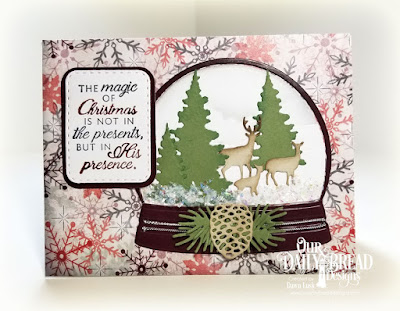 Our Daily Bread Designs Stamp Set: Winter Cardinal, Paper Collection: Christmas 2017, Custom Dies: Snow Globe, Trees & Deer, Double Stitched Rounded Rectangles, Rounded Rectangles, Curvy Slopes, Pinecones, Pine Branches