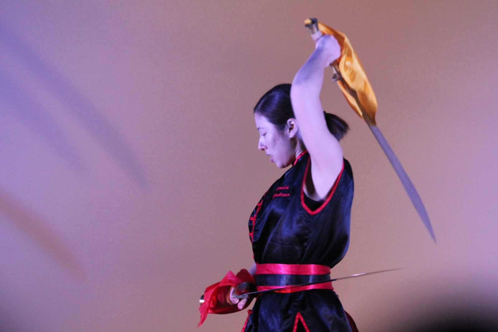 Lutadora de kung fu manejando espadas chinesas