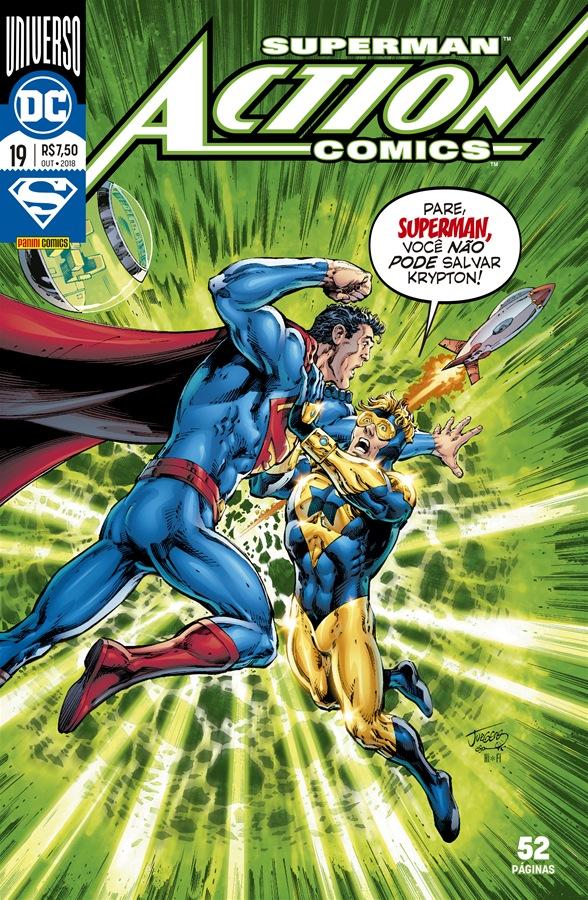 Começando o checklist do Universo DC, capa de Action Comics #19 por Dan Jurgens.