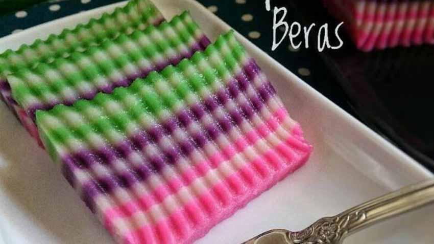 Resep Kue Lapis Tepung Beras Rainbow Yang Enak Kenyal Dan