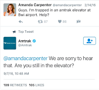tweet stuck in elevator