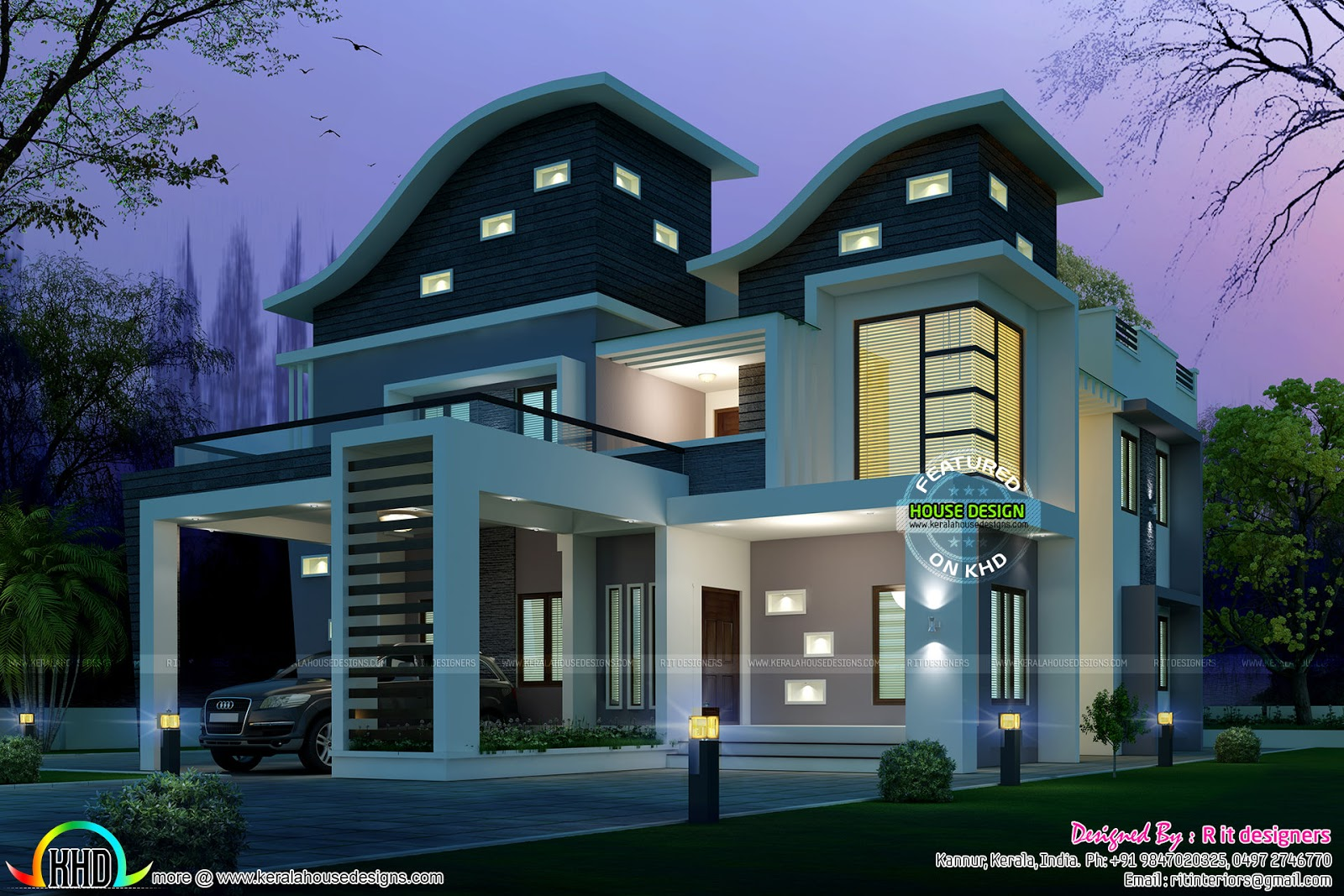 Ultra modern wavy roof home plan - Kerala home design and ...