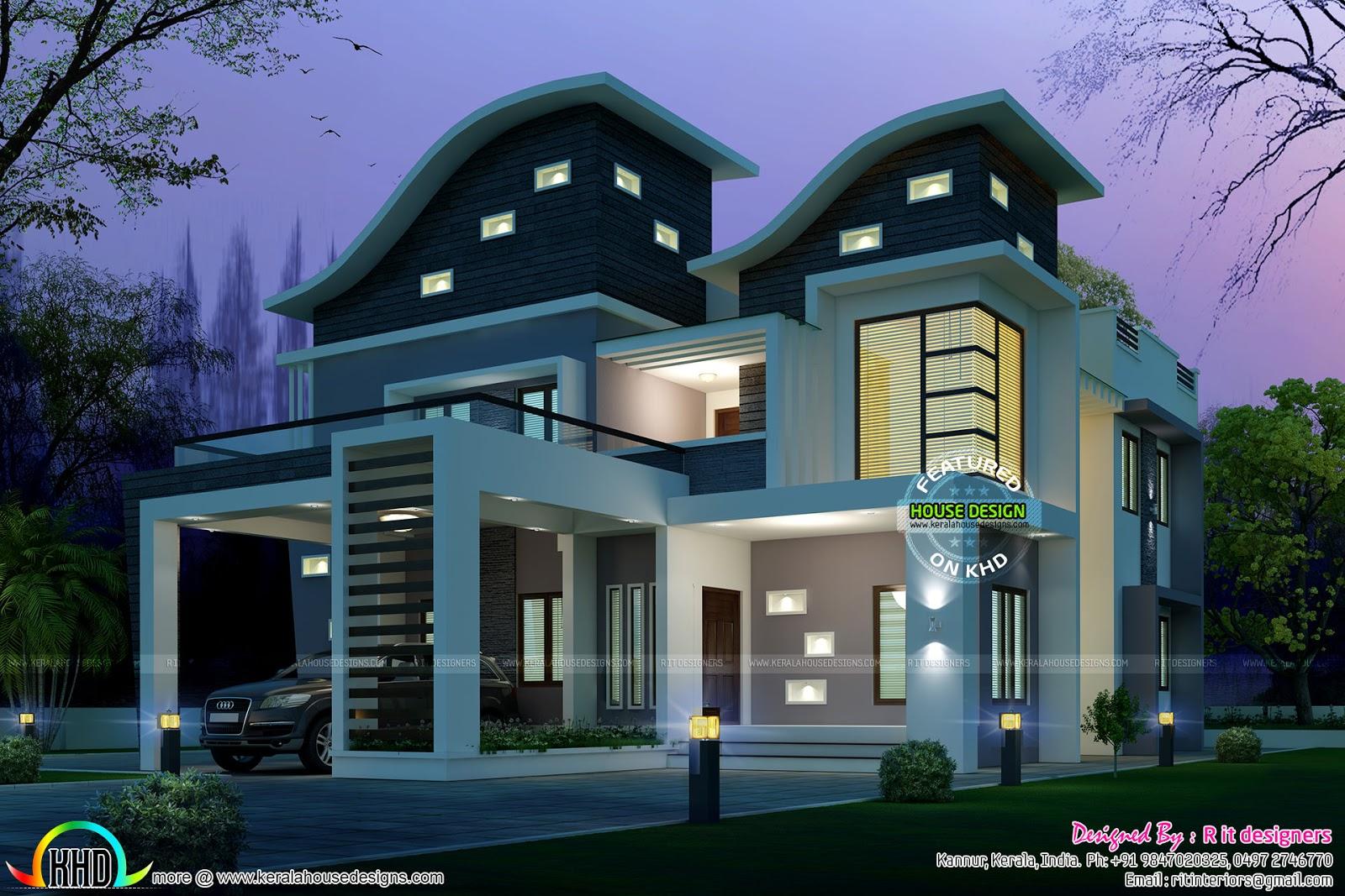 Ultra Modern Wavy Roof Home Plan