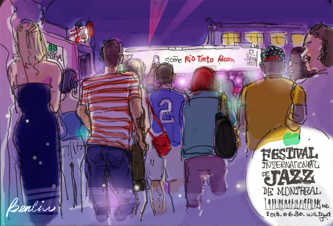 Festival de Jazz de Montréal, illustration and urban sketch by Ben liu
