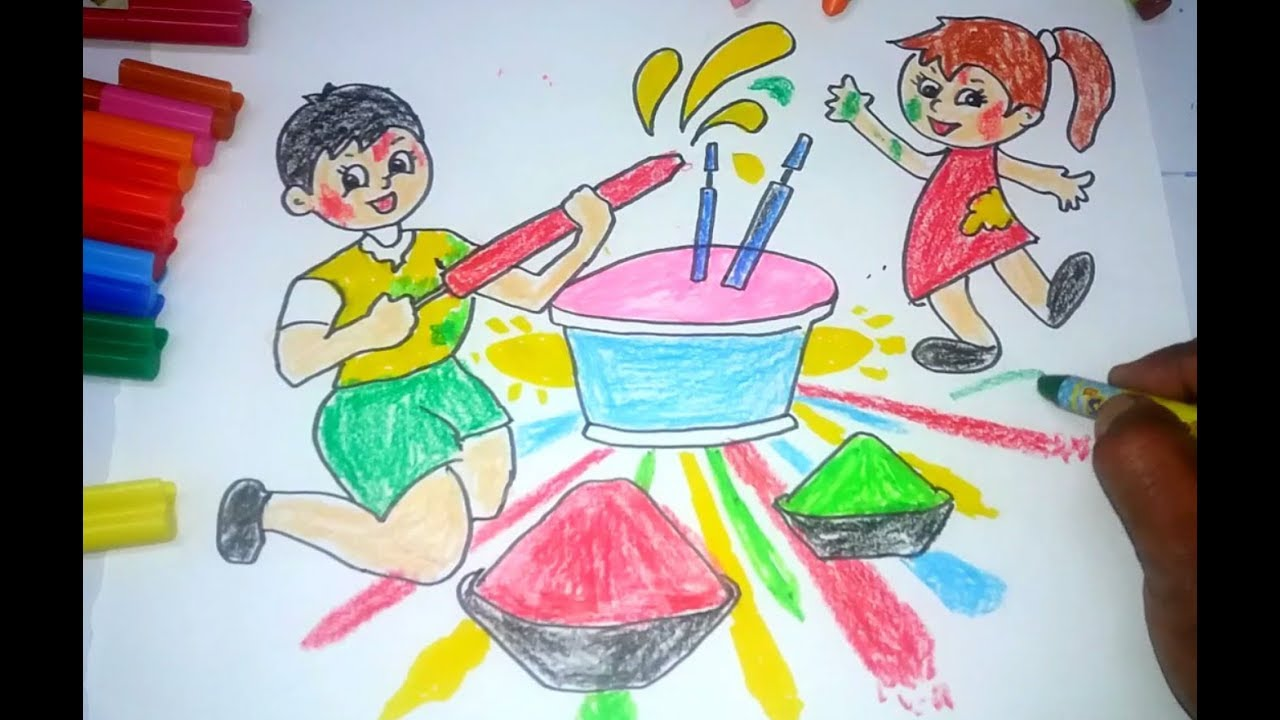 Holi Drawing For Kids Holi Drawing Images Pictures Happy Holi Images 2020 Photos Whatsapp Messages Status Wishes Quotes Shayari Sms Msg