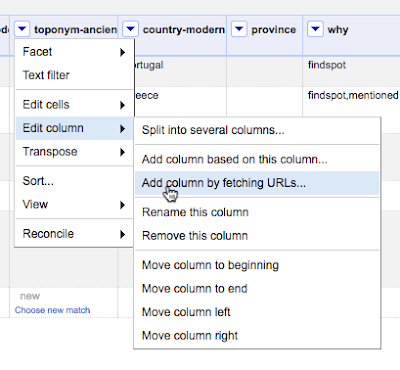 Screen capture of OpenRefine column drop-down menu: add column by fetching URLs
