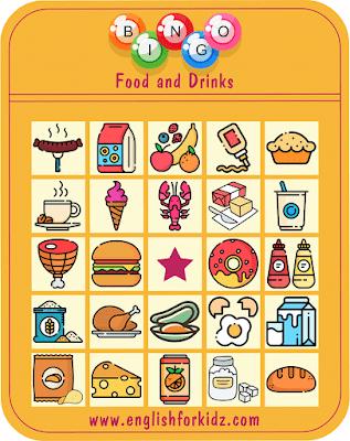 Food bingo -- printable ESL game