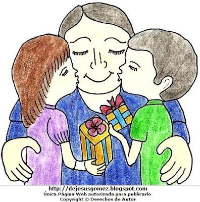 Dibujos de hijos dando un beso a su padre en su día por Jesus Gómez
