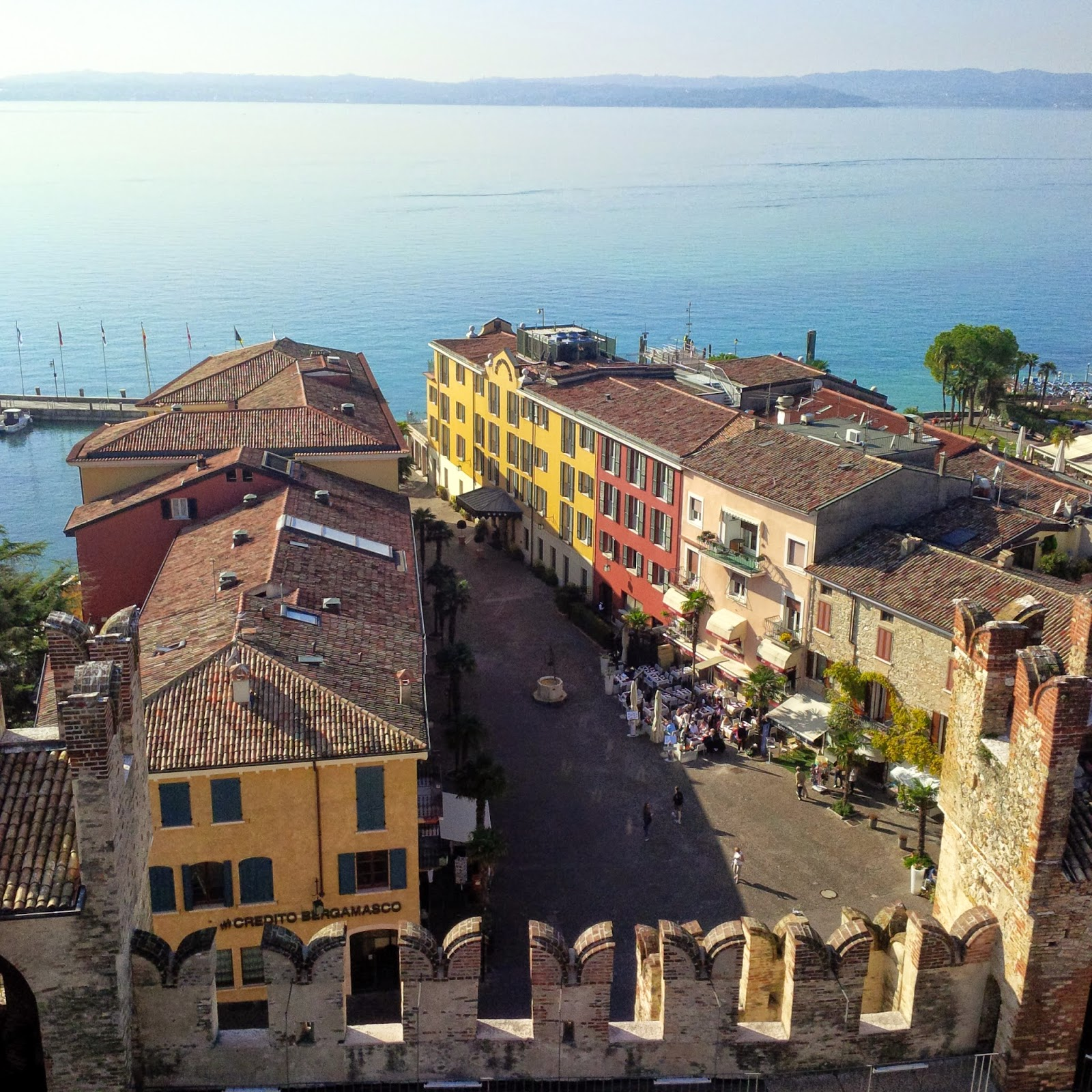 The main square in Sirmione seen from the castle walls