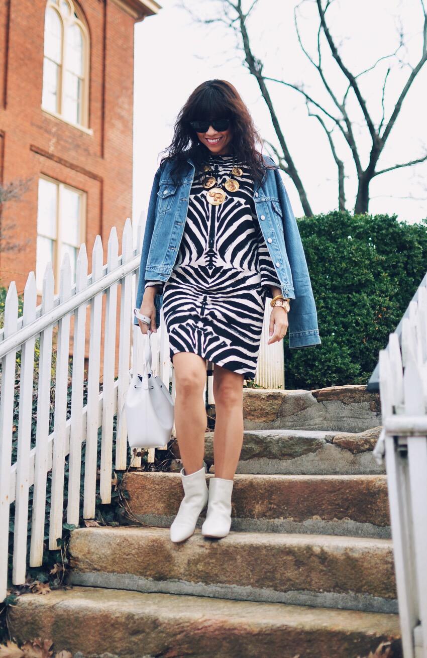 Zebra print dress street style