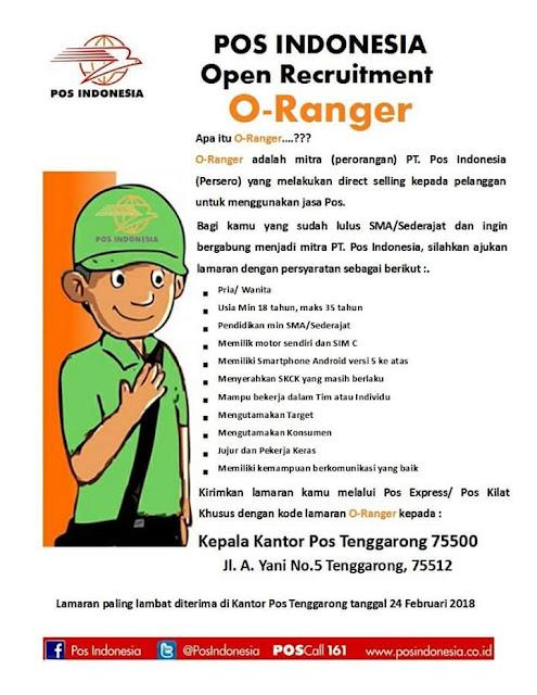 Persyaratan pendaftaran O-Ranger PT Pos.