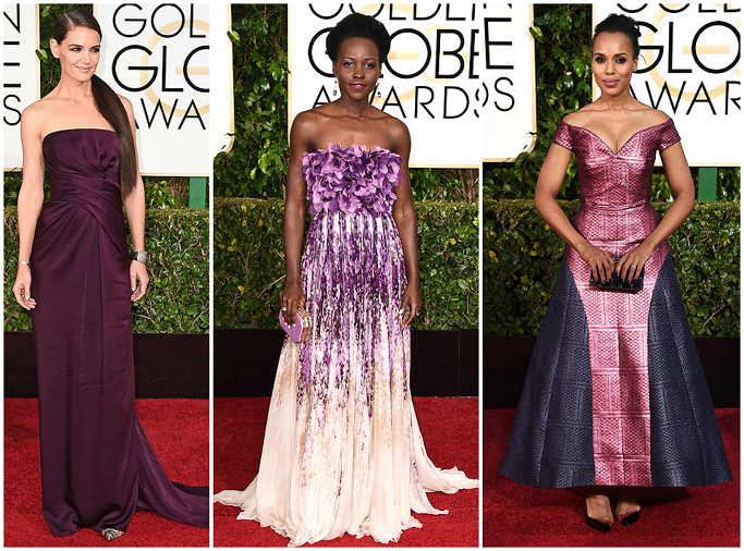 Katie Holmes at Golden Globes Red Carpet Lupita Nyong'o in Gimballista Valli at Golden Globes Red Carpet Kerry Washingtom in Mary Katarantzou at Golden Globes Red Carpet