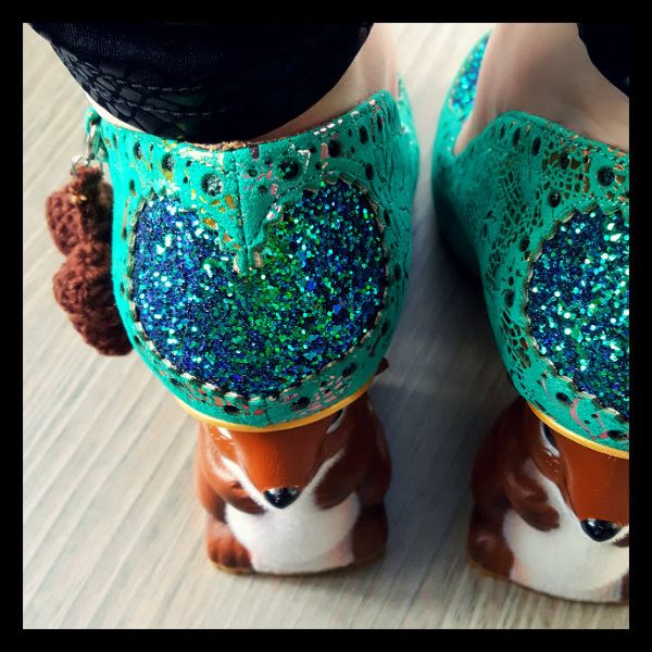 irregular choice nibbles mcnutty green blue glitter heart detail