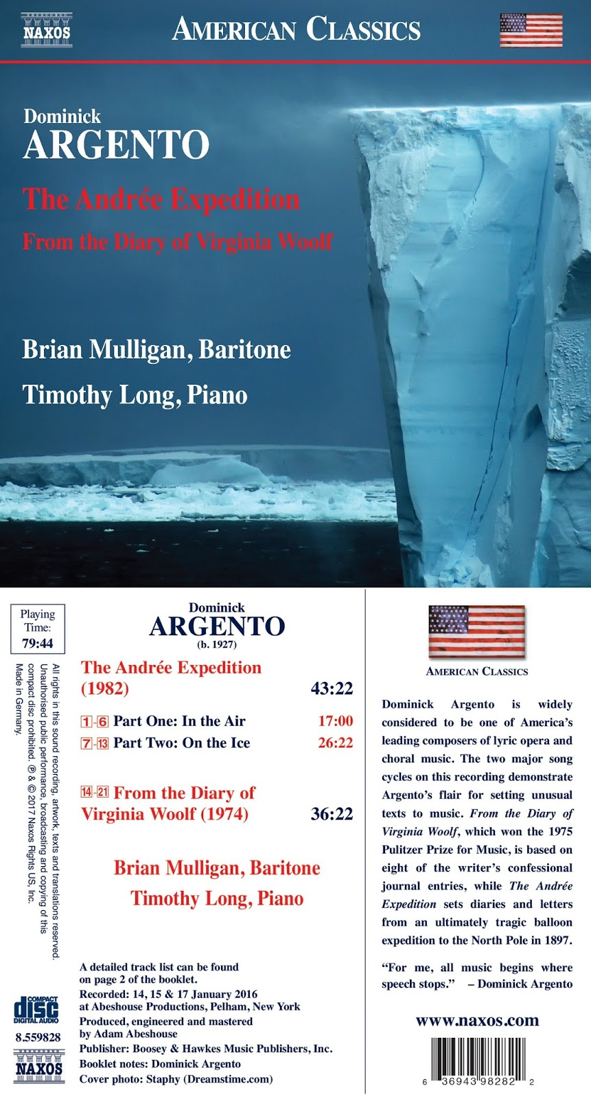 ARTS IN ACTION: Song Cycles by Dominick Argento, performed by baritone BRIAN MULLIGAN and pianist TIMOTHY LONG (Naxos 8.559828)