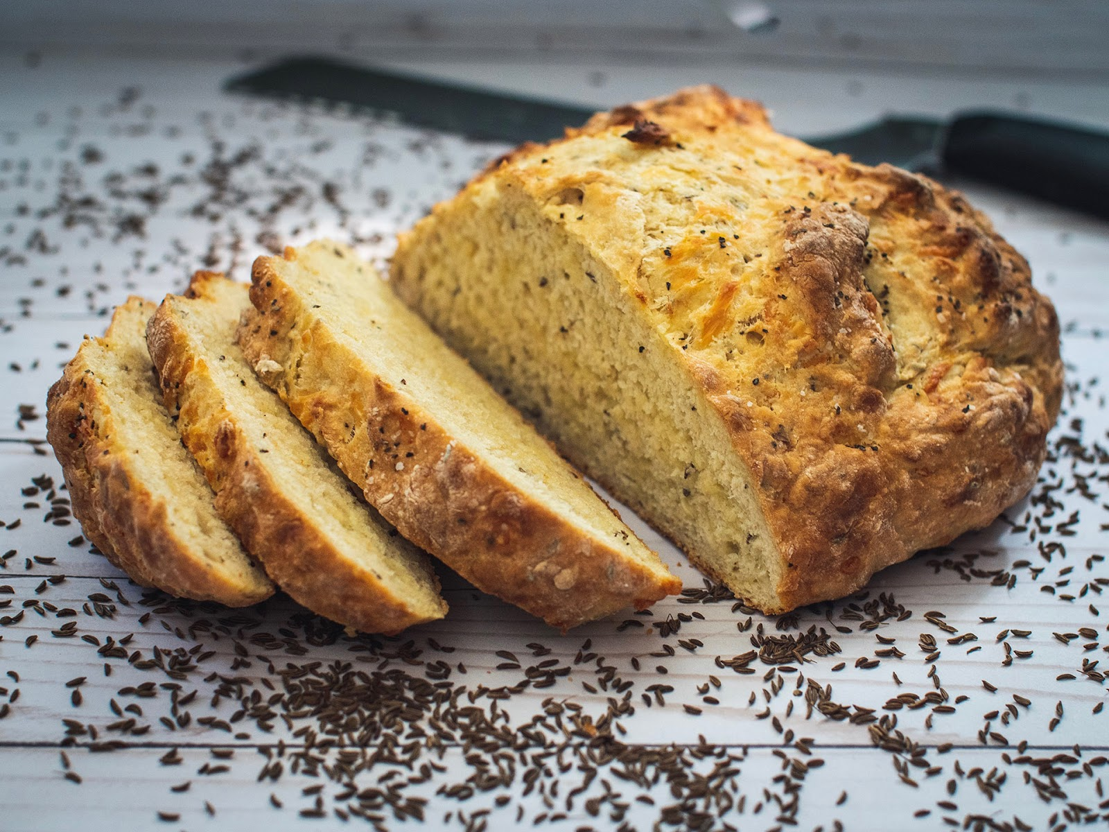 Sliced Caraway Cheddar Irish Soda Bread | Local Food Rocks