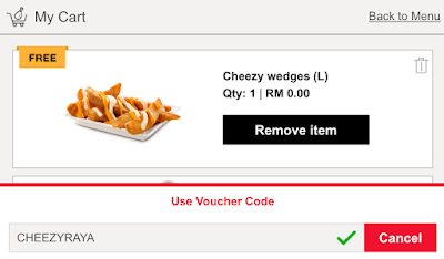 KFC Delivery Voucher Code Free Cheezy Wedges Large
