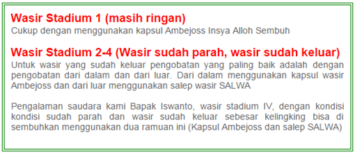 Obat ambeien yang bengkak, obat wasir di Padang Panjang width=510