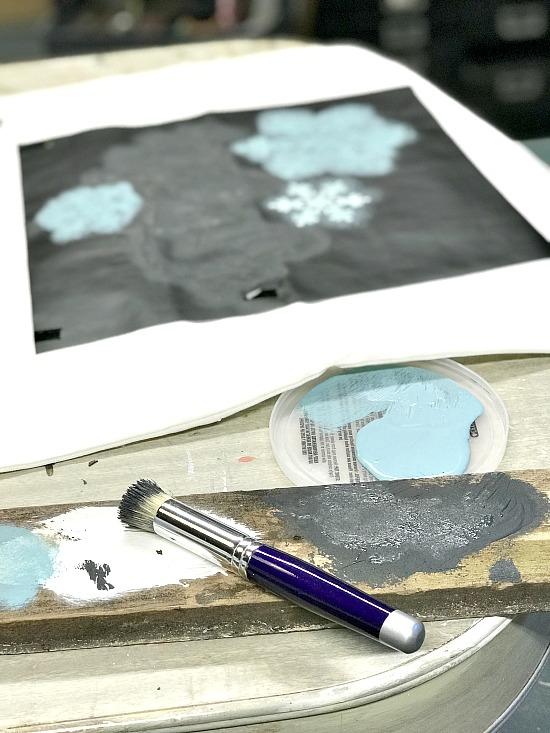 stenciling a vinyl winter stencil