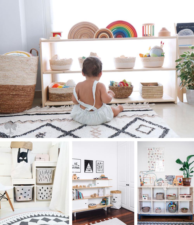 almacenaje para una habitación Montessori con cestas de mimbre para juguetes, cajas y estanterías bajas