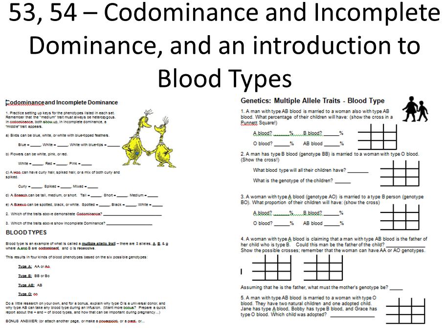 Incomplete Dominance Vs Codominance 53 54 55 codominance andIncomplete Dominance Vs Codominance