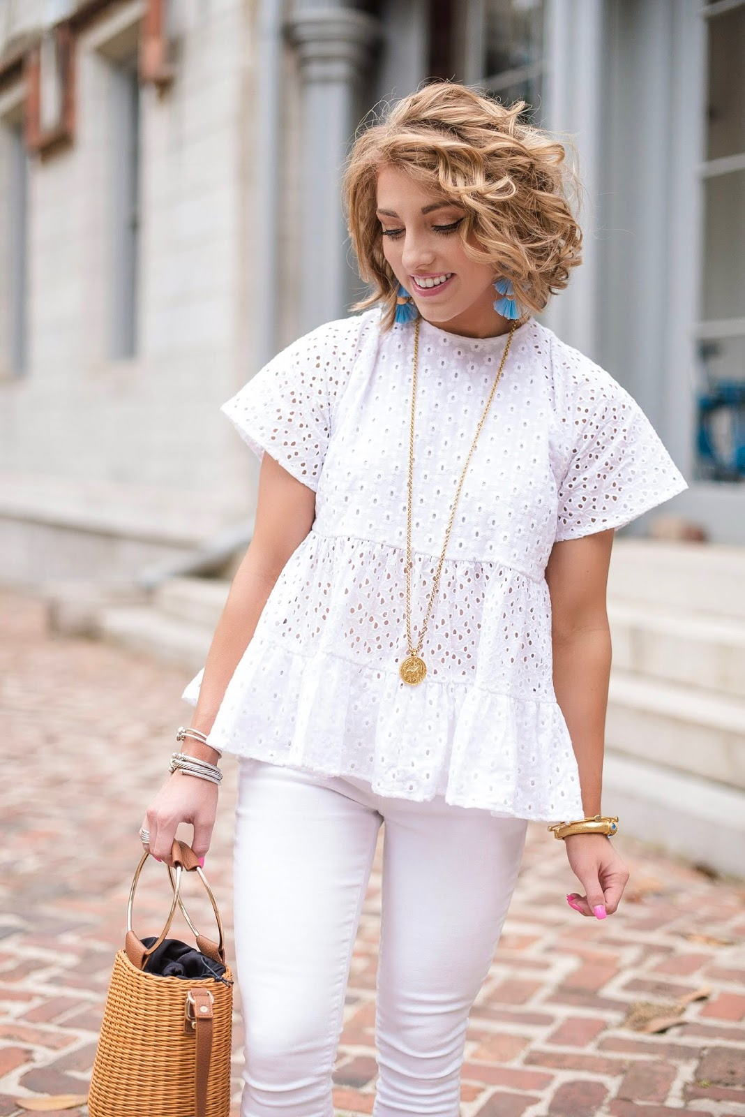 Eyelet Babydoll Top (under $50) + Julie Vos - Something Delightful Blog