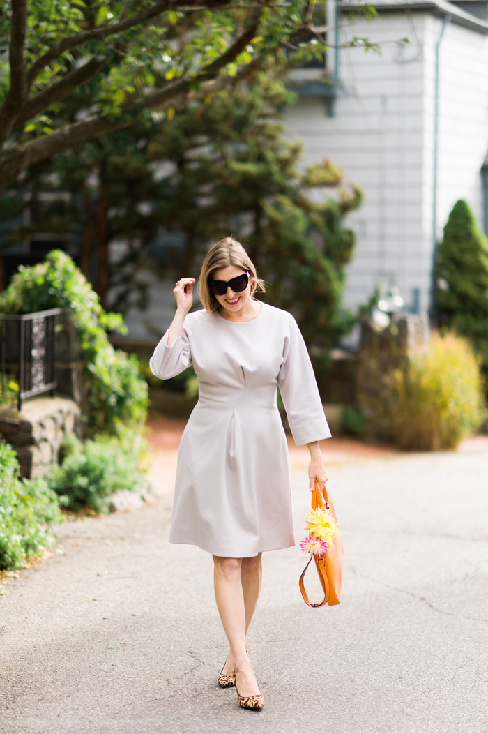 COS WAISTED WOOL DRESS WITH DRAPING