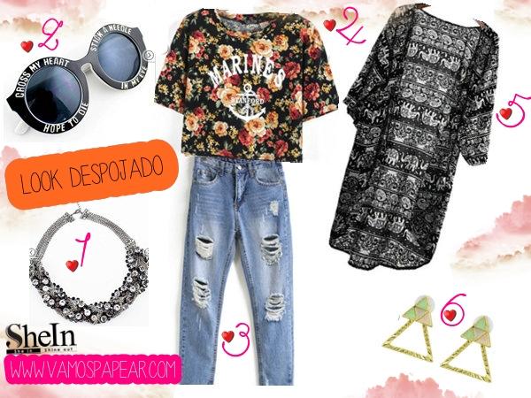Lista De Desejos Shein, Jeans Denim Destroyd,Brinco Colorido, T-shirt Dark Floral, Kimono, Colar prata, Look Despojado