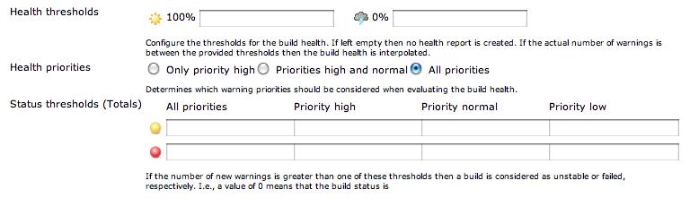 PMD analysis plugin health thresholds
