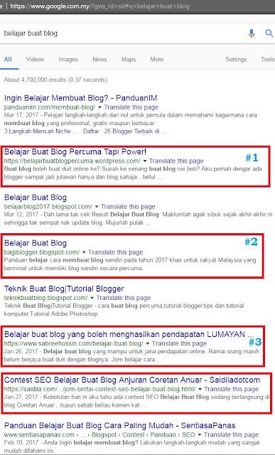 Senarai Pemenang Contest SEO Belajar Buat Blog
