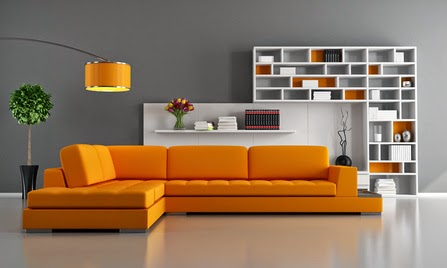 sala color naranja y gris