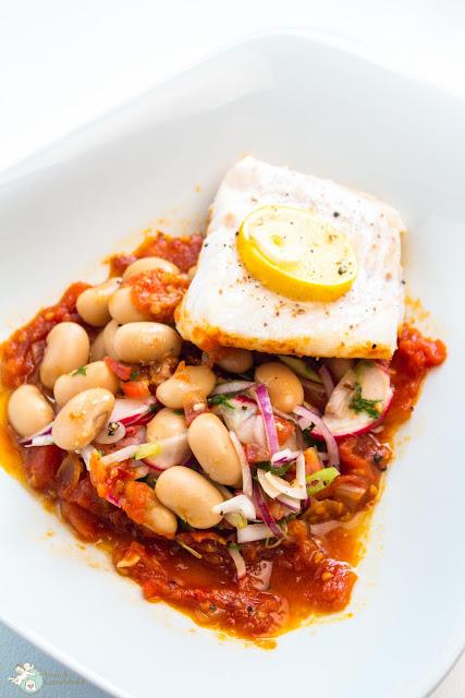 Tomatensoße aus dem Ofen mit Fischfilet