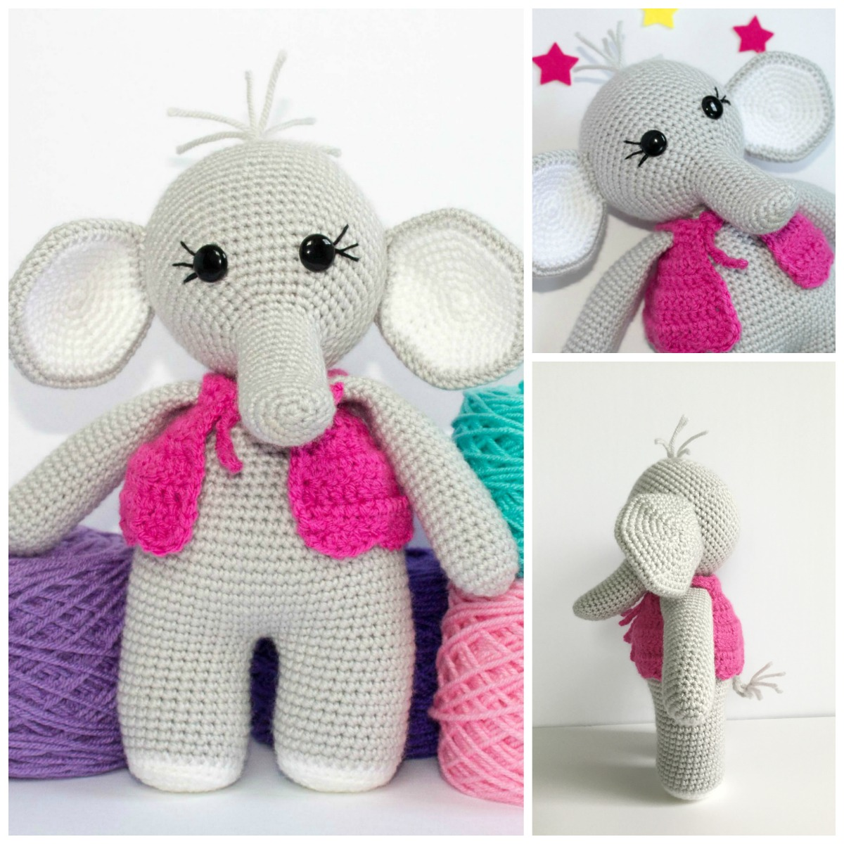 Crochet Elephant Amigurumi Easy Video Instructions | 1200x1200