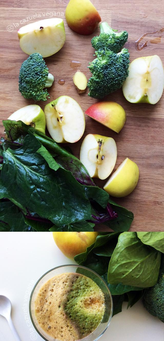 Zumo de manzana, brócoli, espinacas y jengibre (Licuado)