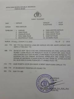 [Hoax] Telegram Polri Tentang Antisipasi Kepulangan Rizieq Shihab 2