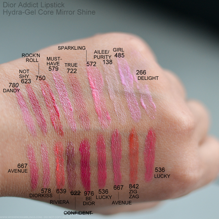 Dior Addict Hydra-Gel Core Mirror Shine Lipsticks Swatches 780 Dandy 623 Not Shy 750 RocknRoll 579 Must Have 722 True 572 Sparklin 138 Ailee Purity 485 Girl 266 Delight 667 Avenue 578 Diorkiss 639 Riviera City Lights 976 Be Dior 536 Lucky 842 Zig Zag