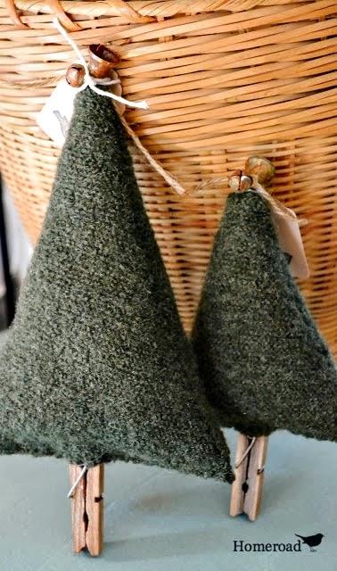 boiled wool Christmas trees www.homeroad.net