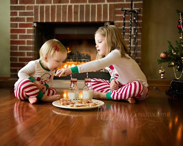 In studio Christmas mini session with milk and cookies