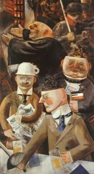 Obraz pt Filary społeczeństwa przedstawia ludzi rządzących światem bankierzy księża politycy bukmacherzy