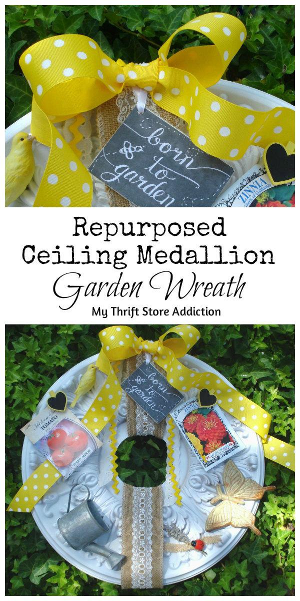 repurposed ceiling medallion garden wreath
