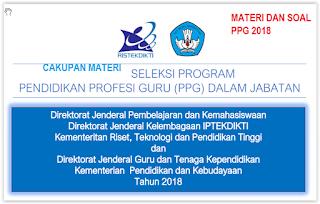 CAKUPAN MATERI  PRETEST PPG 2018 GURU SD