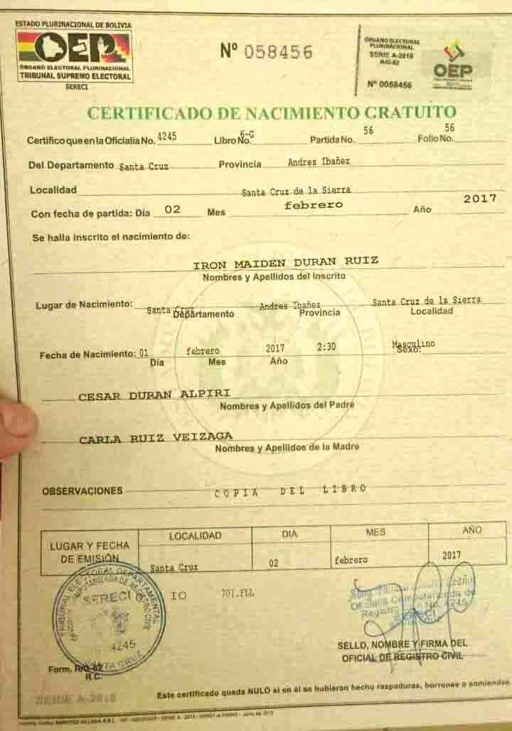 Iron Maiden nació en Bolivia (el bebé) | Noticias sobre Heavy Metal ...