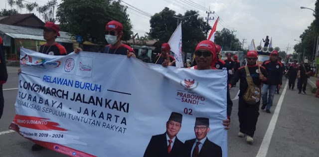 Hari Ketiga, Longmarch Buruh Menangkan Prabowo-Sandi Disambut Hangat Masyarakat