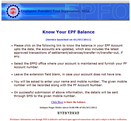 "Now, click on ""Click Here to know the balance""."