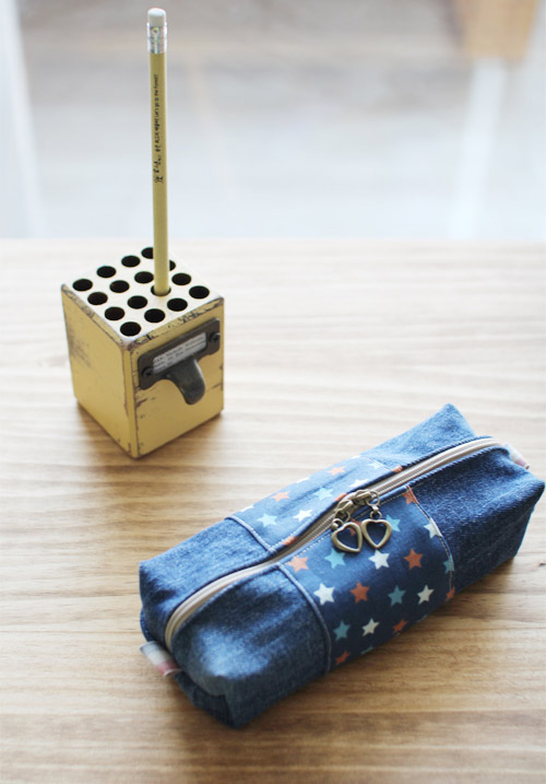 How to make zippered denim pencil case DIY step by step tutorial instruction.