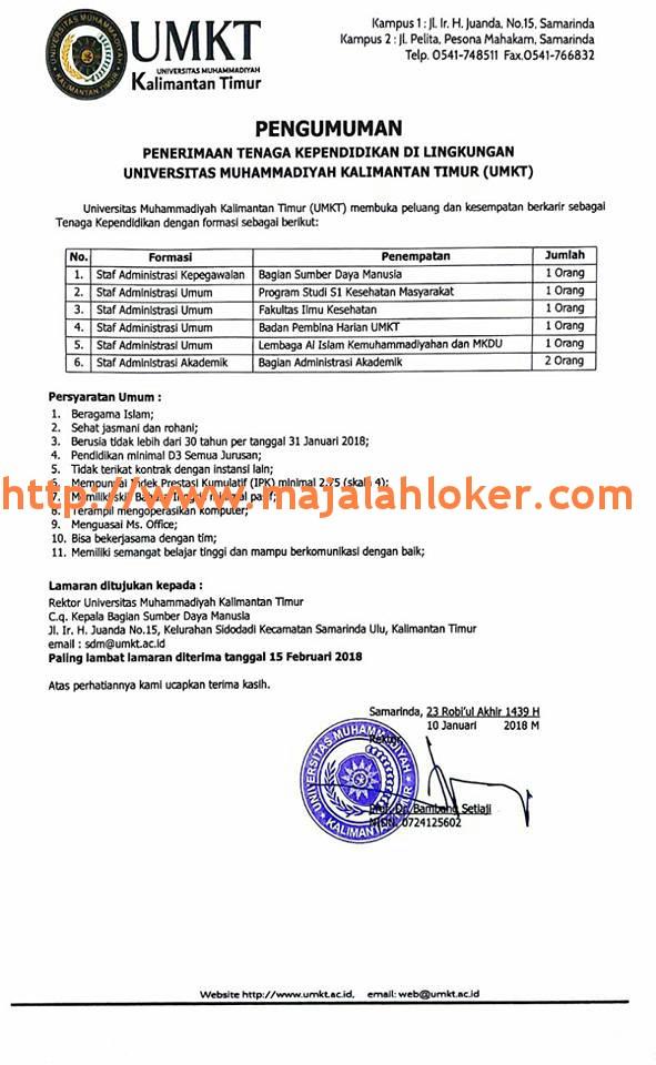 Lowongan Tenaga Kependidikan Universitas Muhammadiyah Kalimantan Timur (UMKT)