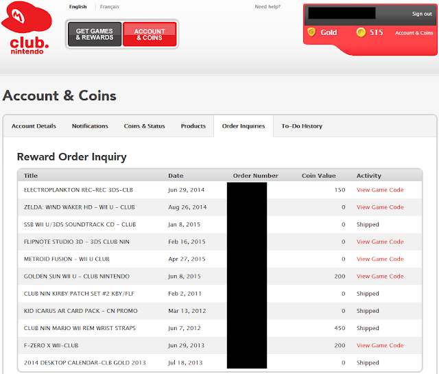 Club Nintendo Reward Order Inquiry download game code activity list