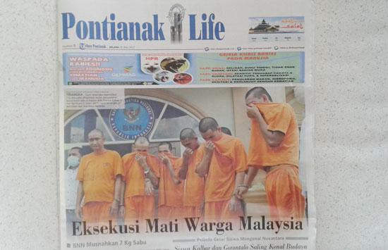 Headline utama koran Tribun Pontianak tanggal  25 Juli 2017 memberitakan vonis hukuman mati Warga Malaysia.  Foto Istimewa