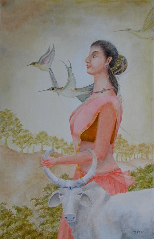 Beautiful figurative painting of a lady with bull by biju p mathew